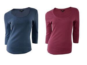 Womens-PAPAYA-Blue-Red-3-4-Sleeve-Cotton-Tops-UK-Size-10-12-14-18-20-22