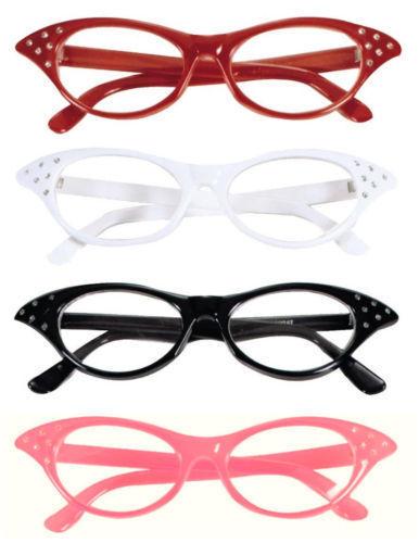Pink black red white fancy dress glasses fly away grease ladies rock n roll