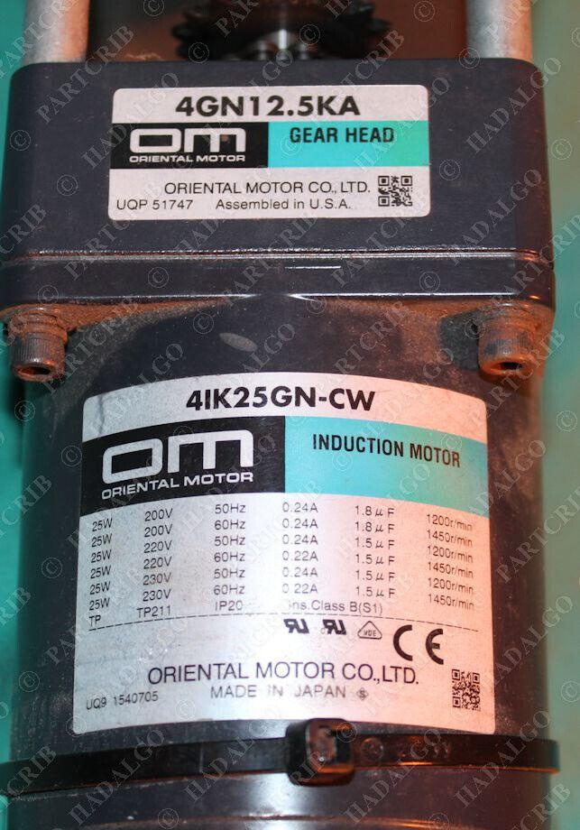 Oriental Motor 4IK25GN-CW 4GN12.5KA Gear Head Induction Motor