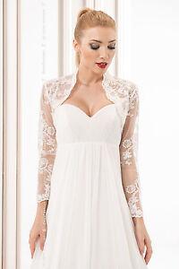 New Womens Wedding Luxury Top Bridal Lace Bolero Shrug Jacket Sizes S M L XL