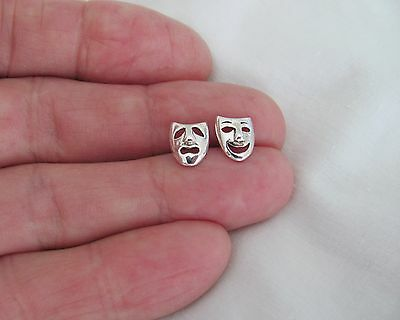 Sterling Silver 9mm comedy tragedy post stud earrings
