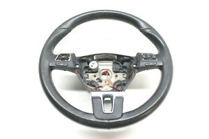 12-VW-JETTA-TDI-WAGON-BLACK-LEATHER-STEERING-WHEEL-5C0-419-091-Q-OEM-11-12-13-14