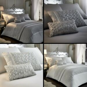 fd04ea361843 Zenia Sequin Diamante Duvet Cover Set Runner Filled Cushions Silver ...