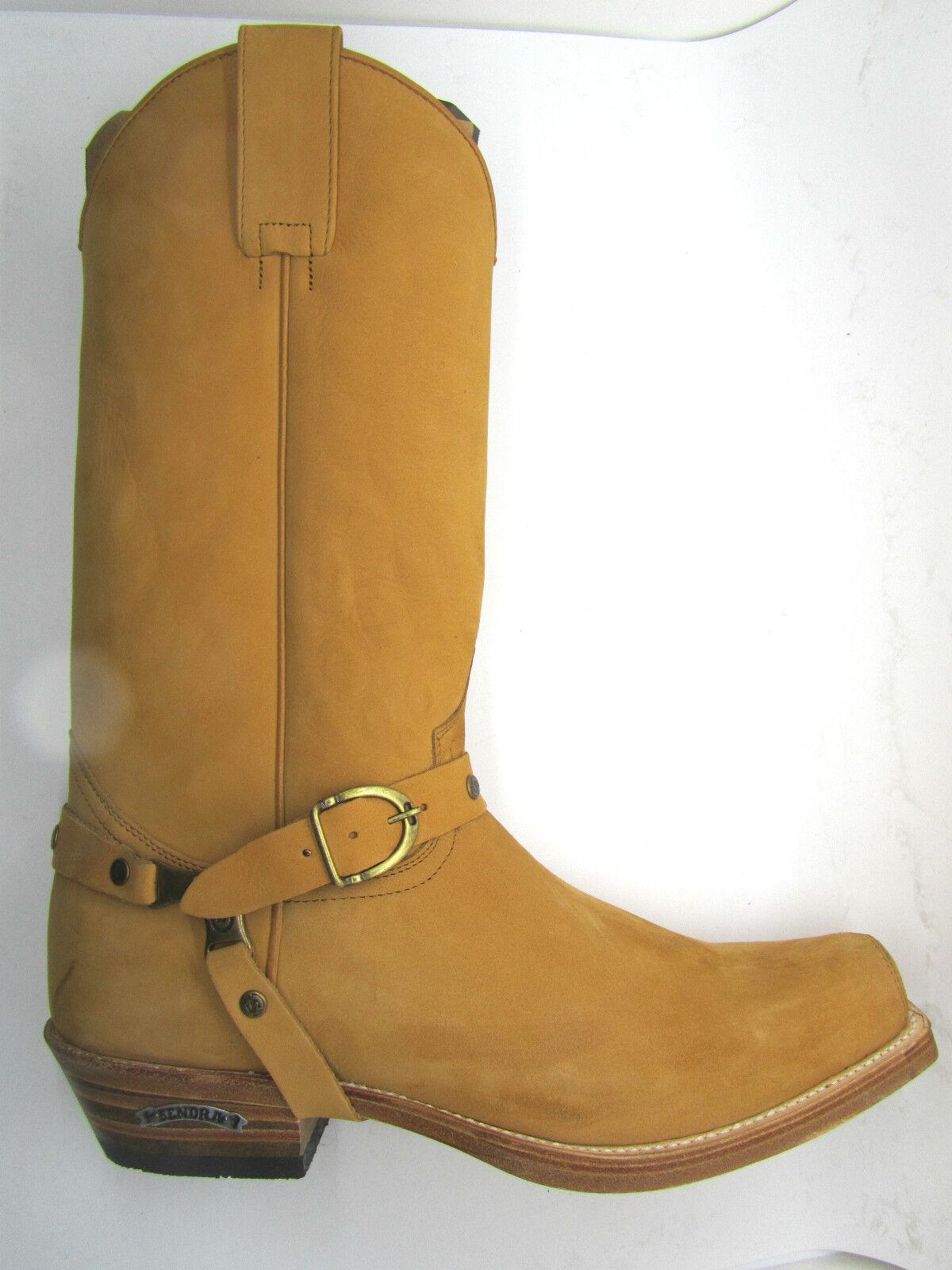 Sendra 3091 hombre botas de vaquero occidental de cuero nobuck Bronceado Biker hecho a mano