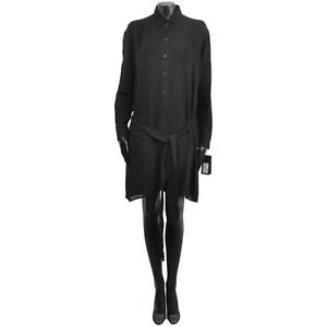 SAINT-LAURENT-PARIS-2700-Authentic-New-Silk-Black-Ruffled-Shirt-Dress-38-40-42