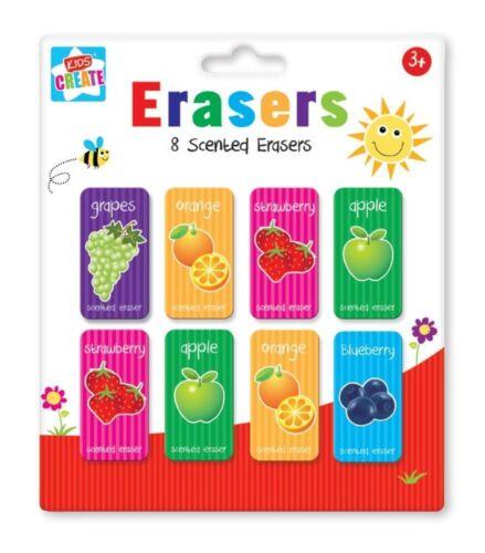 Confezione da 8 per bambini frutta profumata Gomme per cancellare gomme Back To School Party Borsa Filler