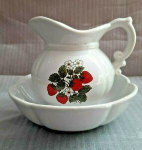 McCoy Pottery Strawberries 7528 White Pitcher and Bowl Wash Basin Set USA