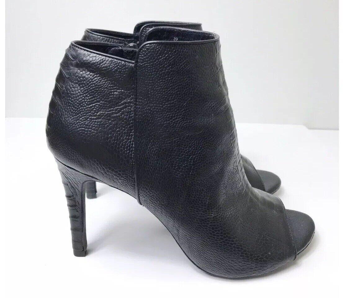 Joie Bota Al Tobillo Stiletto Stiletto Stiletto 9 Cuero Negro Cocodrilo en relieve Gwen Vero  350 0713df