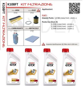 Set 4 Filters Servicing Fiat Grande Punto 199 1.3 + Castrol 5W/30 K108FT