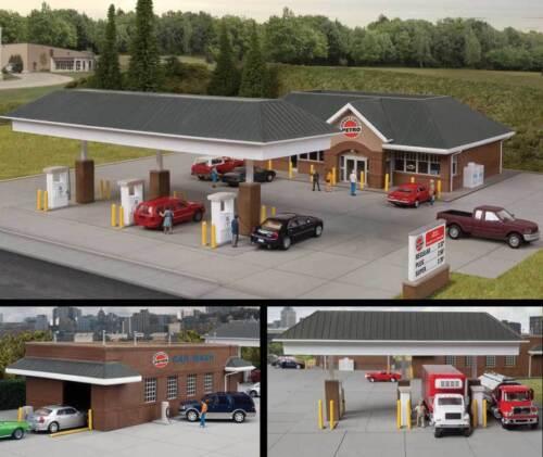 3538 Walthers Cornerstone Modern Travel Center Car Wash Gas Station HO Kit