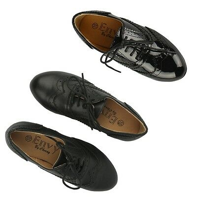 S520 - Girls Black Brogue Oxford Flats School Smart Pumps Shoes - UK 10 - 2
