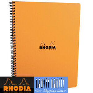Rhodia-Notebook-GRID-A4-Wirebound-Orange-cover-80-sheets-Paper-Note-pad