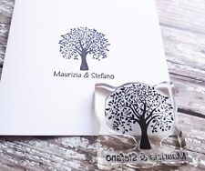 PERSONALISED SAVE THE DATE RUBBER STAMP WEDDING ENGAGEMENT CELEBRATION TREE