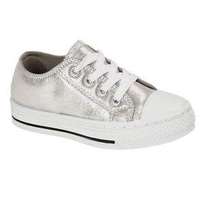 Enfants-Garcons-Filles-Toile-Decontracte-Chaussures-Escarpins-Baskets-a-Lacets-Tennis