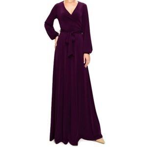 Women-Janette-Fashion-PLUM-Long-Bell-Sleeve-Casual-Evening-Maxi-Dress-S-M-L