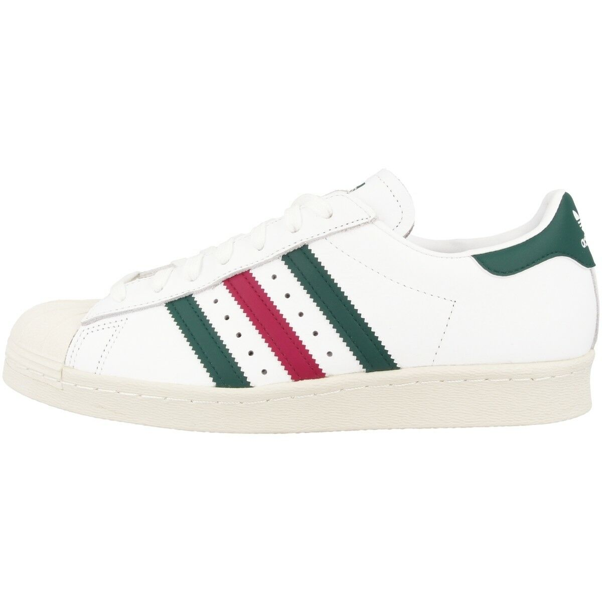 Zapatos promocionales para hombres y mujeres Adidas Superstar 80s Schuhe Retro Freizeit Sneaker Turnschuhe white green CQ2654