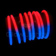 """(200) 8"""" GLOW STICKS BRACELETS - RED / BLUE BI COLOR - USA JULY GLO LITE PARTY"""