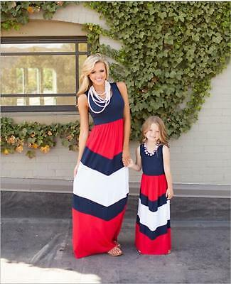Kids Parent Dresses Outfit Mother Daughter Dress Family Girls Women's Party Maxi