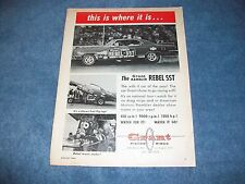 1967 Vintage Grant Piston Rings Ad with Rambler Rebel SST Funny Car