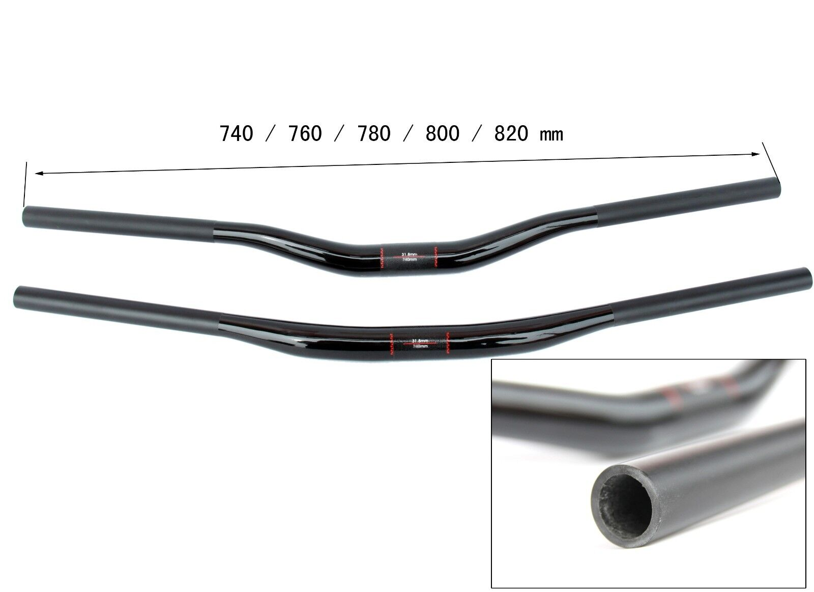 DH AM  UD CARBON 31.8 MTB handlebar riser 15   30mm x 740mm 760 780 800mm 820mm  discounts and more
