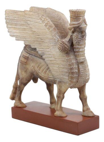 """Assyrian Bull Lamassu Statue 8.5/""""L Decorative Shedu On Wooden Pedestal Figurine"""