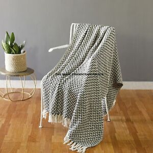 Details about Large Cotton Traditional Hand Woven Black Blanket Home Chair  / Sofa / Bed Throws
