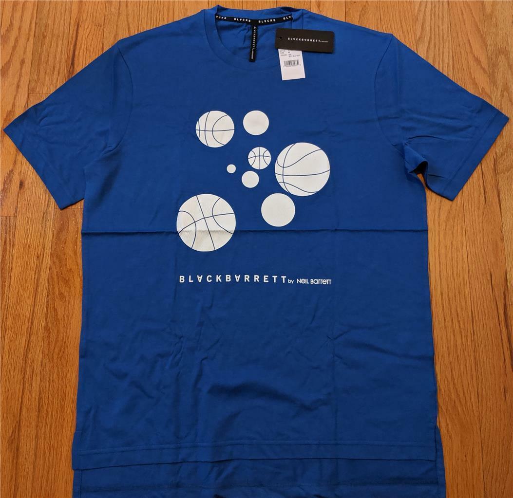 Mens Authentic BLACKBARRETT by Neil Barrett Basketball T-Shirt bluee Medium  185