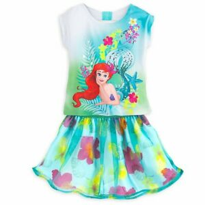 a0a67a96b1 Details about Disney Store Princess The Little Mermaid Ariel Skirt Set Girl  Size 5 6