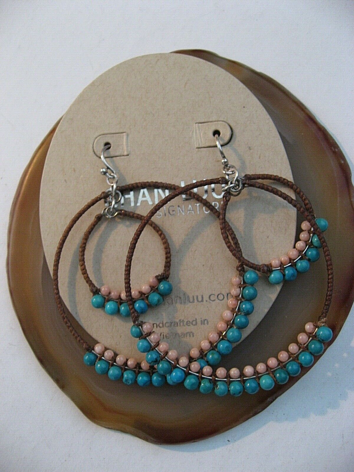 Chan Luu Earrings Turquoise with Salmon Coral Mega Double Hoops on Sterling NWT
