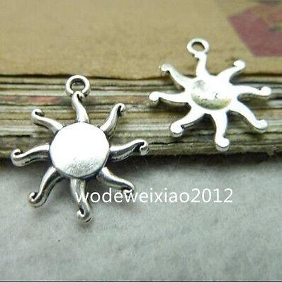20pc Tibetan Silver Flower Sun Charms Pendant Beads Jewellery Making PL246