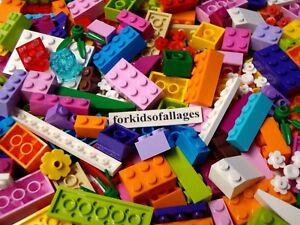 LEGO Girl Colors Parts Lot 100 Pieces Various Friends Bricks Plates Pink Purple+