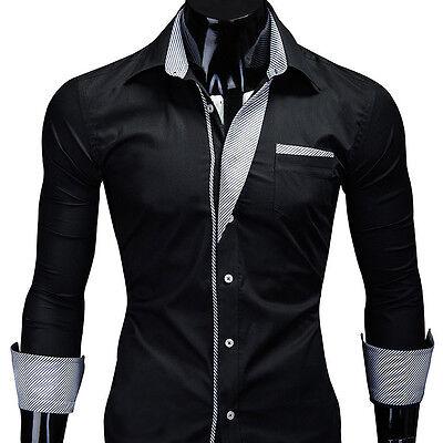 MT Herren Langarm Hemd Slim Fit Polo Shirt Schwarz/Weiß/Navy Clubwear NEU