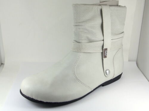 Kids Girls Children/'s Zip Up Beige /& Black Ankle Boots Flat Shoes