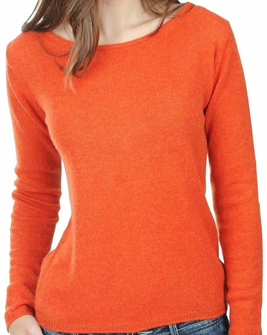 Balldiri 100% Cashmere Damen Pullover Rundhals 2-fädig Orange S