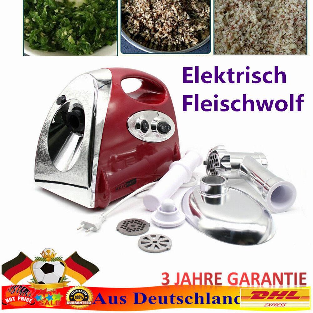 Fleischwolf Wurstmaschine Reißwolf Elektrisch Zerkleinerer Aufsatz 2800W Black