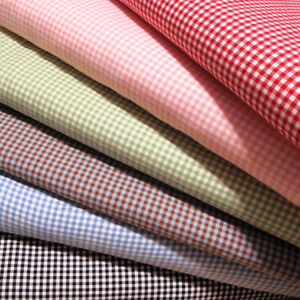 Gingham-1-8-Checkered-Poly-Cotton-Fabric-Prints-44-45-034-Wide-Sold-By-The-Yard