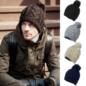 42842880b3d Mens Womens Kids Cable Knitted Bobble Hat Plain Beanie Warm Winter ...