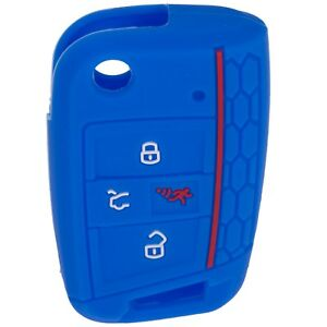 ONE-BRAND-NEW-VW-Volkswagen-Blue-Silicone-Key-Fob-Skin-Cover-Case-Holder