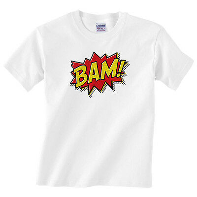 Children's BAM! T Shirt - Kids Boys or girls classic superhero comic strip tee