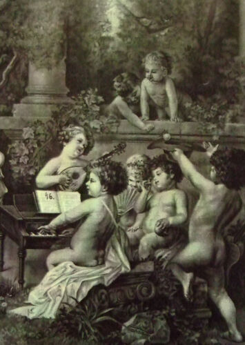 POLYPHON COVER LID PICTURE IMAGE WITH CHERUBS and PIANO for ANTIQUE MUSIC BOX