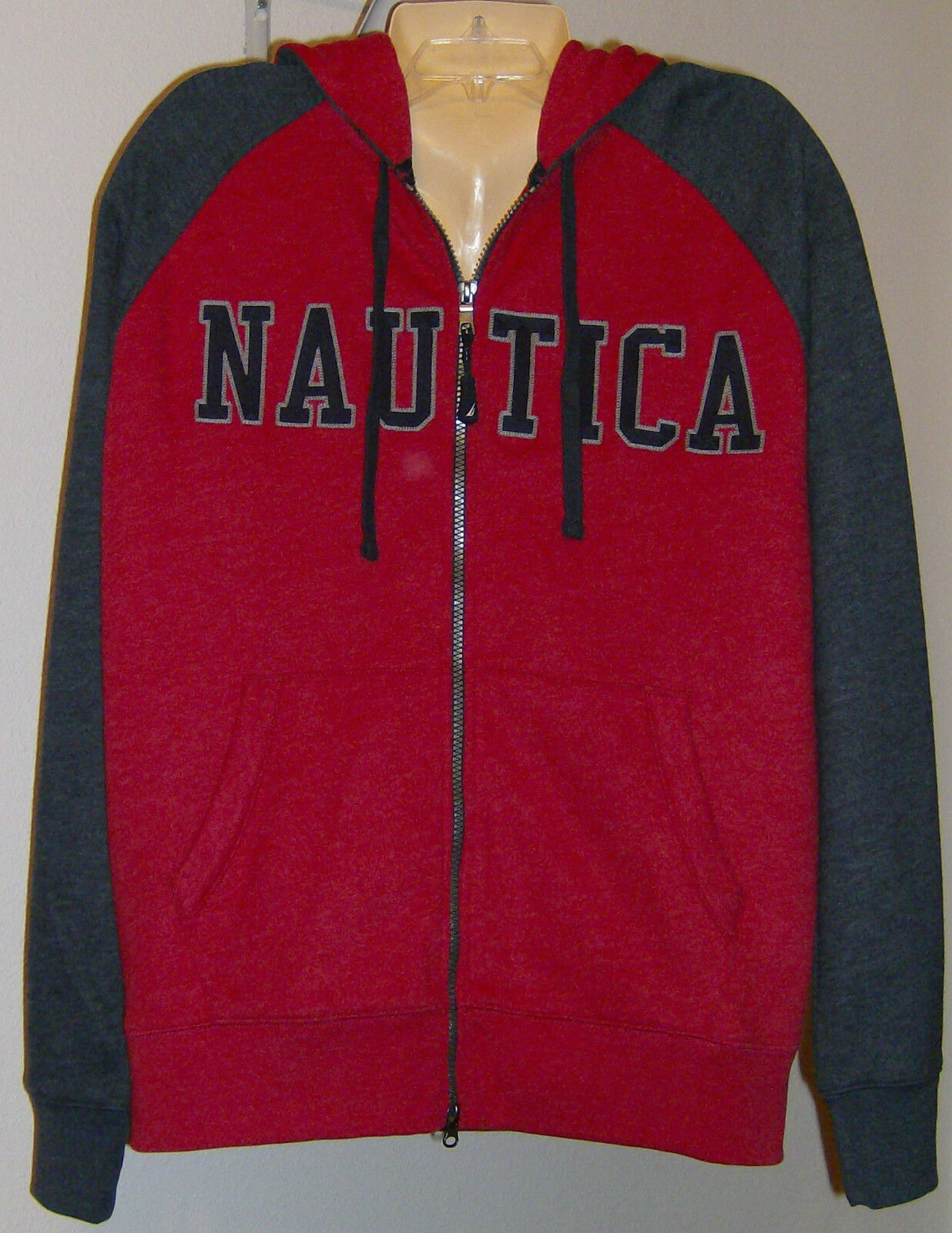 Nautica  Herren Sweat Shirt Hoodie Hooded Größe Small ROT grau NWT Zip Front