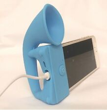 BLUE Portable Silicone Horn Amplifier Loud Speaker Desk Stand Apple iPhone 5 5S