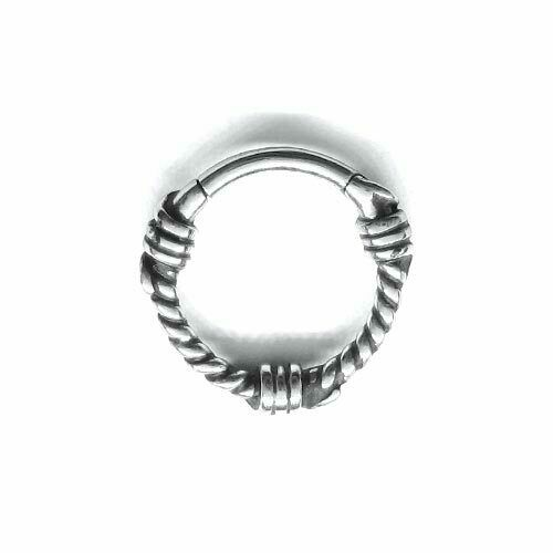 Septum Steel Hinged Ring BARBWIRE Daith Nostril Clicker Ring 1,2x8 mm Helix