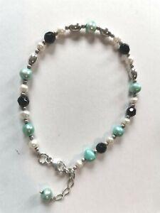 Sterling Silver & Jade Pearl Bracelet - used