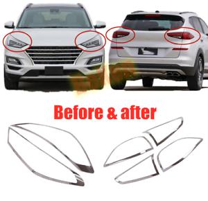 Front Rear Chrome Fog Lamp Lens Molding Trim For Hyundai Tucson 2010-2015