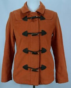 Woman-039-s-GAP-Orange-Wool-Blend-Lined-Toggle-Button-Peacoat-Jacket-Sz-S