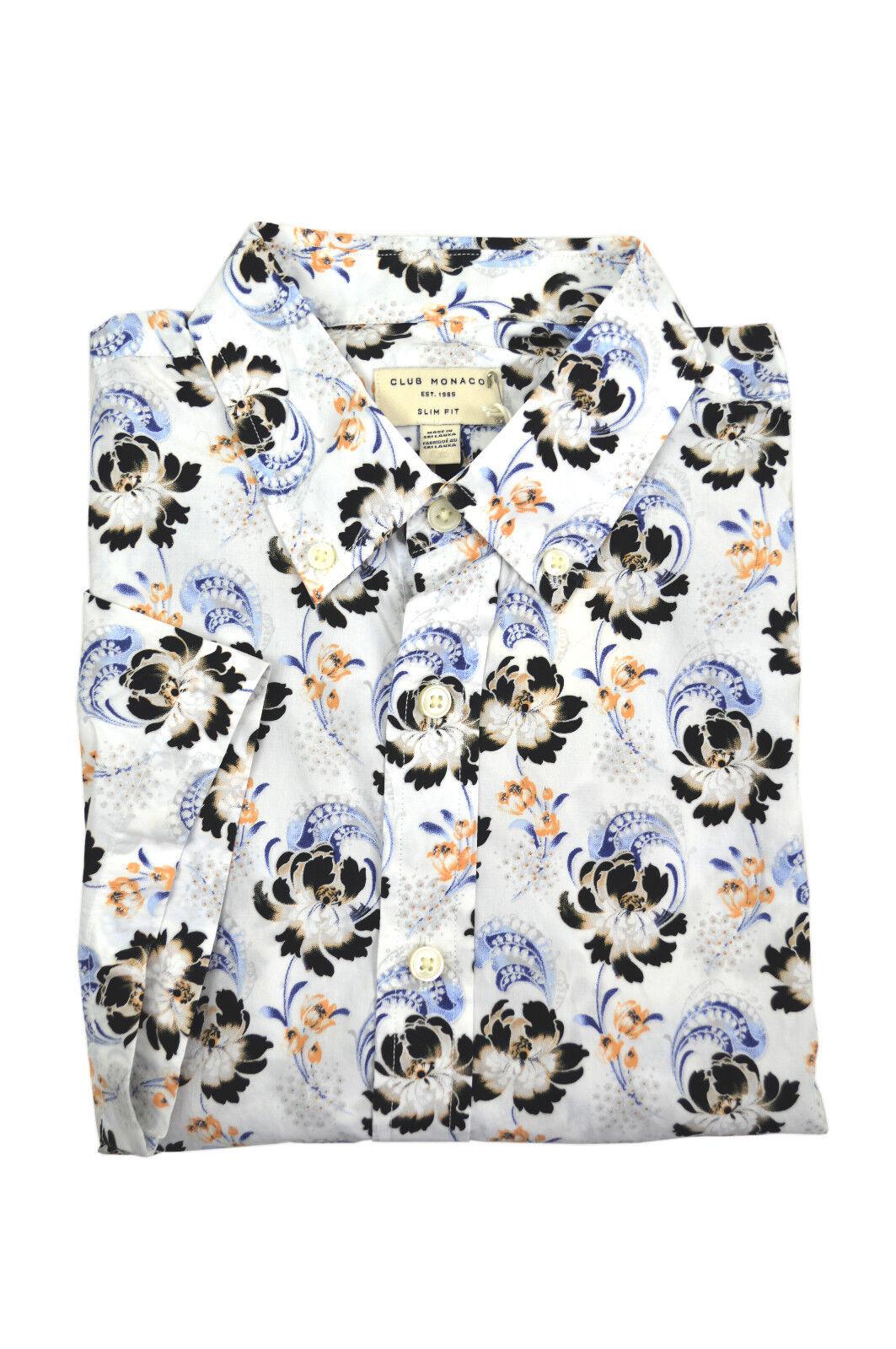 9f85fed45 Club Monaco Mens White Multi Floral Slim Fit Button Down Shirt Medium M  3574-4