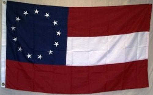 3x5 Embroidered 1st National Stars /& Bars 7 210D Sewn Nylon Flag 3/'x5/' 2 Clips