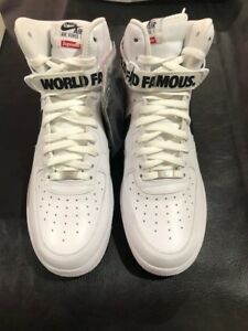 low priced 0e2e9 ea323 Details about SUPREME x NIKE Air Force 1 High AF1 Hi TISCI cdg White Black  2014 World Famous