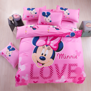 Pink Cute Minnie Girls Twin Queen Size Bed Set Duvet Cover